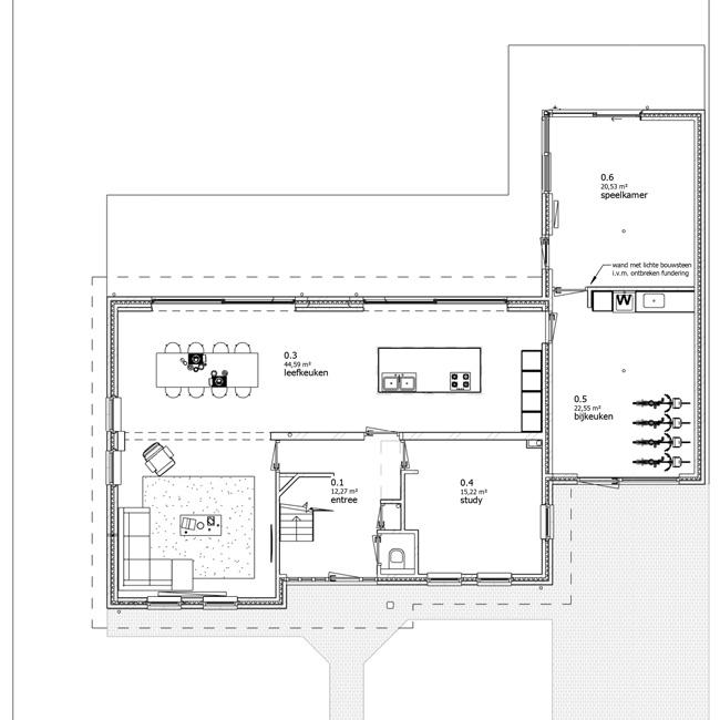 plattegrond nieuw begane grond verbouwingsplan architect