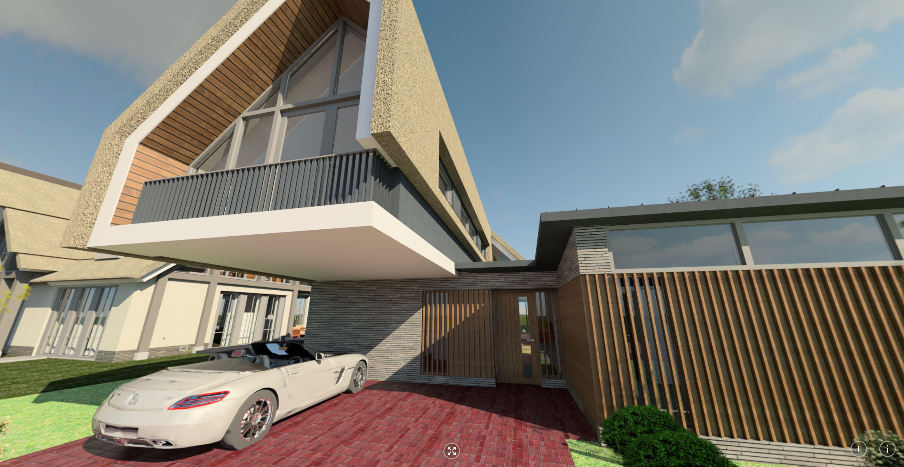 360 voorgevel woonhuis met geïntegreerde carport| Waterfront De Veene