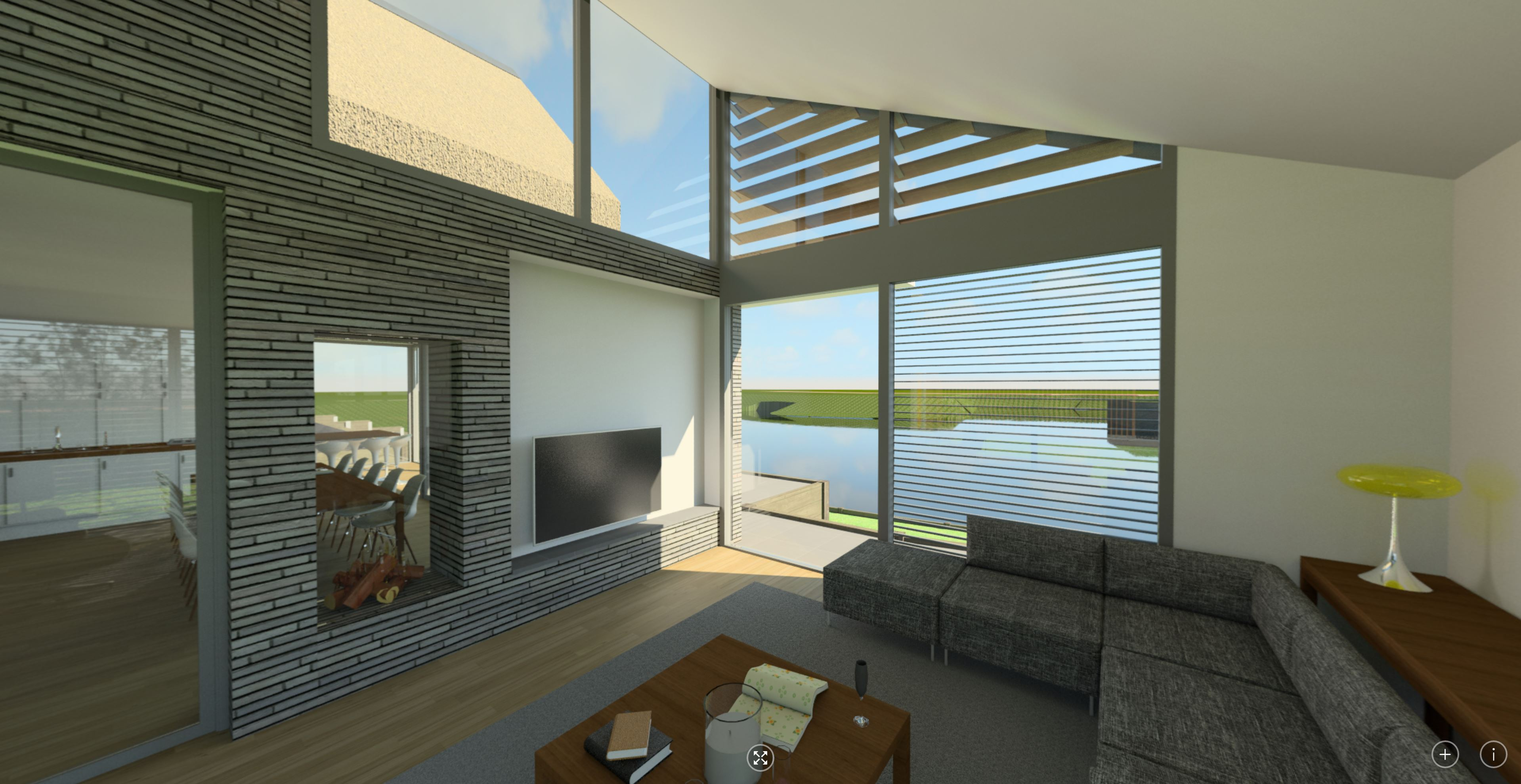 360 interieur woonkamer naar leefkeuken en de binnenhaven | Waterfront De Veene