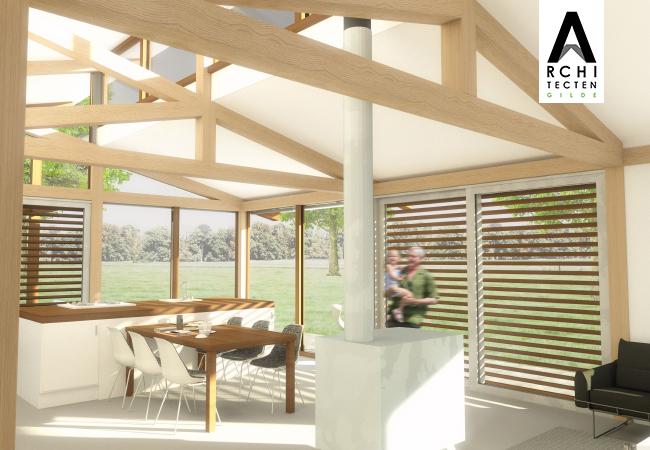 Eikenhouten constructies_interieur Post & Beam