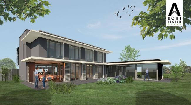 Afbeelding: Luxe moderne villa met schuifpanelen voorzien van lamellen in achtergevel