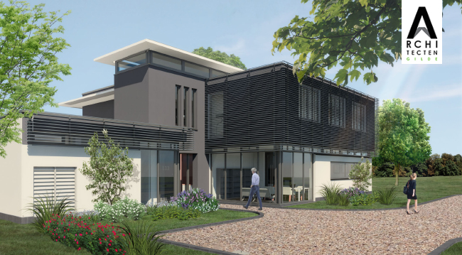 Afbeelding: Luxe moderne villa met structurele zonwering in de voorgevel