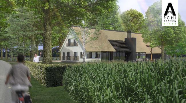 Afbeelding: Moderne woonboerderij met verschillende toepassingen van lamellen