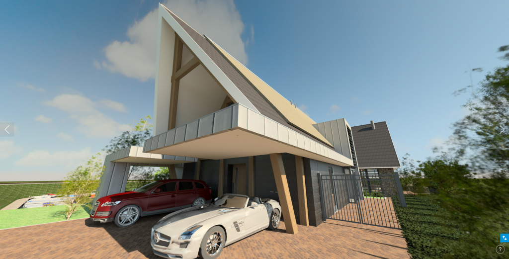 360 Pano exterieur architectuur oprit aankomst woning