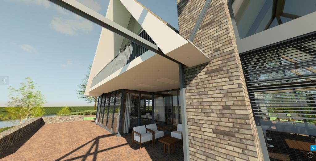 360 Pano exterieur architectuur terras pergola huisje