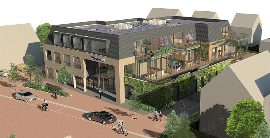 Appartementen gebouw met commerciële plint door zonwering, zonnepanelen en warmtepomp EPC 0 = duurzaam ontwerp