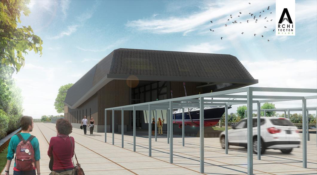 Botenkraan overdekt dakconstructie op voorgrond botenbokken tevens parkeerruimte
