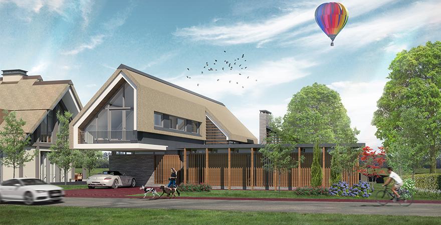 Eigentijdse villa onder architectuur ontworpen met natuurlijke materialen als het rieten dak, houten gevels en duurzame hellende dak voorzien van zonnepanelen