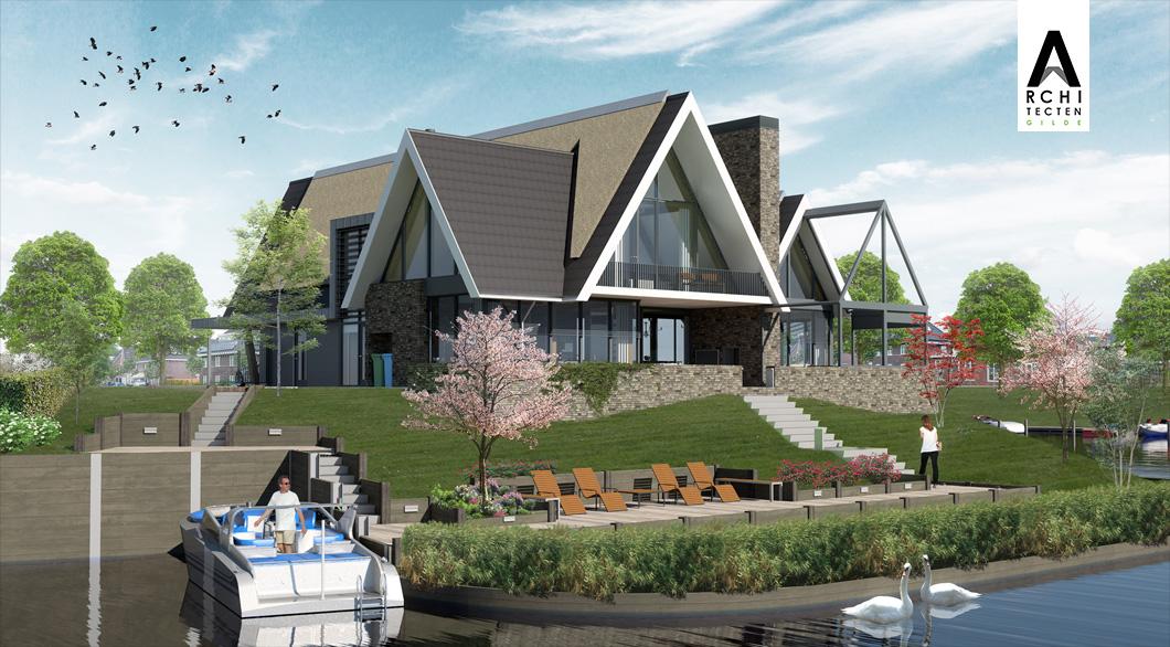 Luxe villa aan het water combinatie pannen en riet met vide veranda houthaard