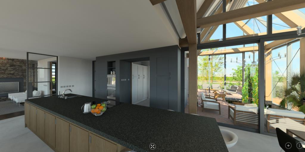 Luxe woonvilla Leefkeuken Oranjerie als wintertuin serre 360 Panorama beeld