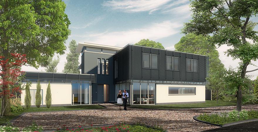 Moderne villa: strak vormgegeven woonvilla met kantoor en binnenzwembad.