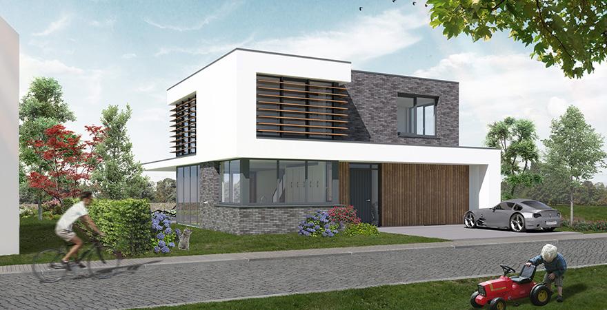Moderne woning met warme uitstraling, bijzondere beeldtaal, functionele indeling en sfeervol buitenleven door veranda met buitenhaard.