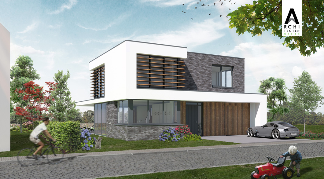 Moderne woning met doorlopende daklijn te Geerpark Vlijmen zonnepanelen platdak