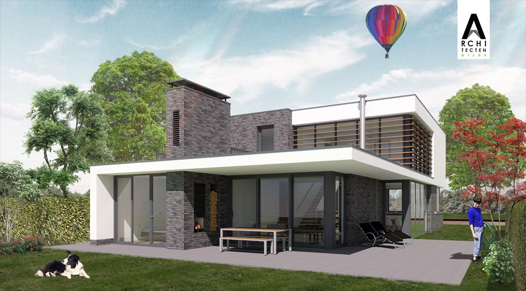 Moderne woning veranda buitenhaard warmtepomp in schoorsteen geintegreerd