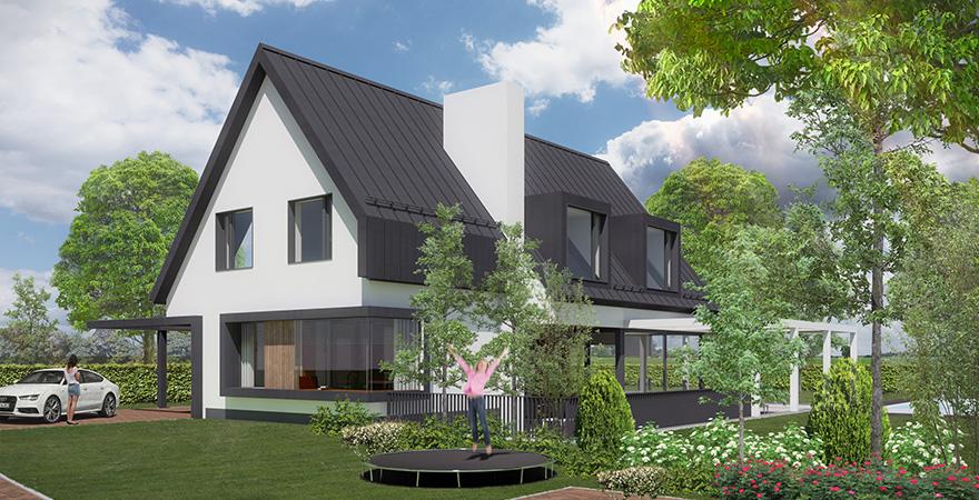 Moderne woning met witte gestuukte gevels metalen felsdak voorzien van ruime dakkapellen, prominente schoorsteen met buitenhaard in de veranda.