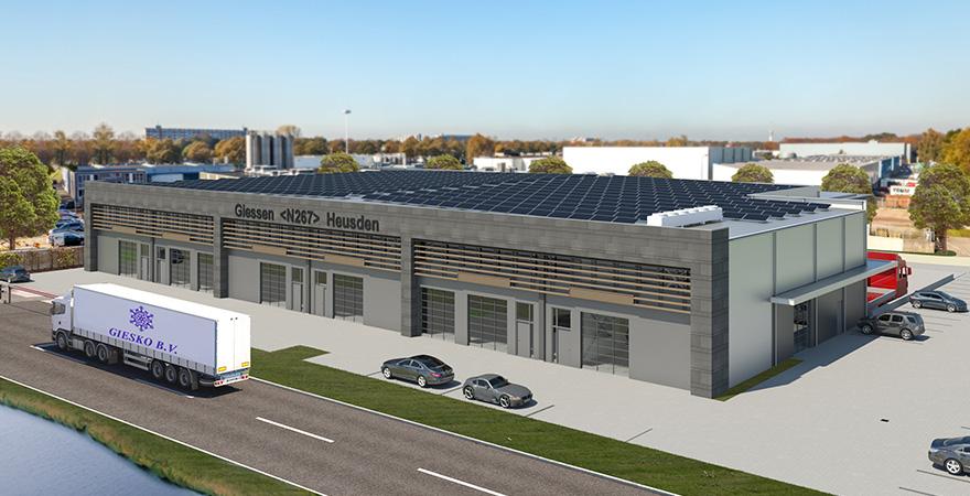 Ontwerp bedrijfshal (koelhal) met dubbele dockshelter en werkplaatsen.
