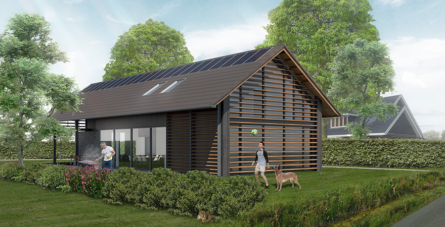 Schuurwoning modern ontwerp met hout lamellen als zonwering en hellend dak voorzien van vlakke dakpannen.