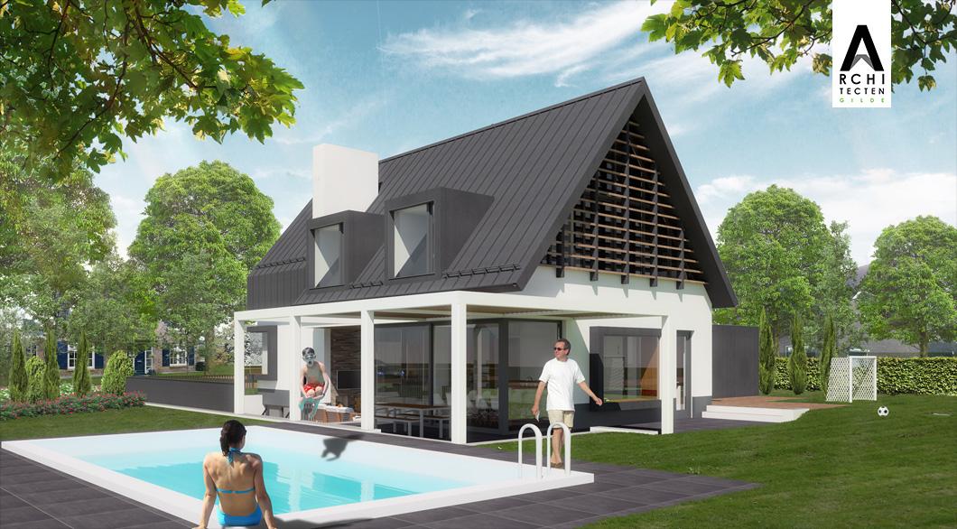 Strakke woning architect modern lamellen veranda