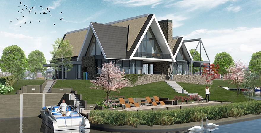 Villa architectuur: luxe woning met oranjerie onder architectuur ontworpen eigentijdse vormgeving.