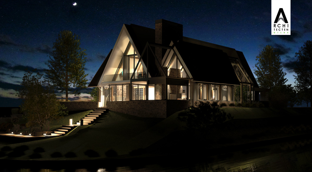 Villa bij nacht verlichting glazen gevel veel glas woning