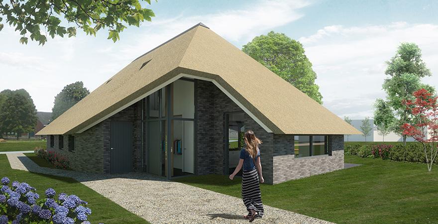 Vlaamse schuur met rieten dak en metselwerk gevel (optie houten gevel).