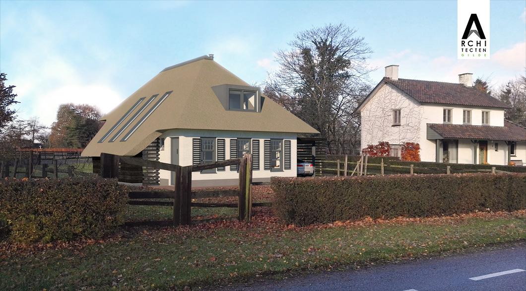 Voorgevel ontwerp woonboerderij schilddak architect boerderij