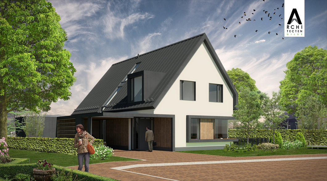 Woning gestuukte muren antraciet dak zwarte kozijnen carpoort