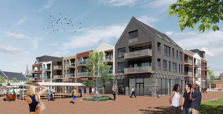 Centrumplan 't Parelplein te Giessen-Rijswijk, winkels met bovenliggende appartementen (Giessen-Rijswijk, gemeente Altena)