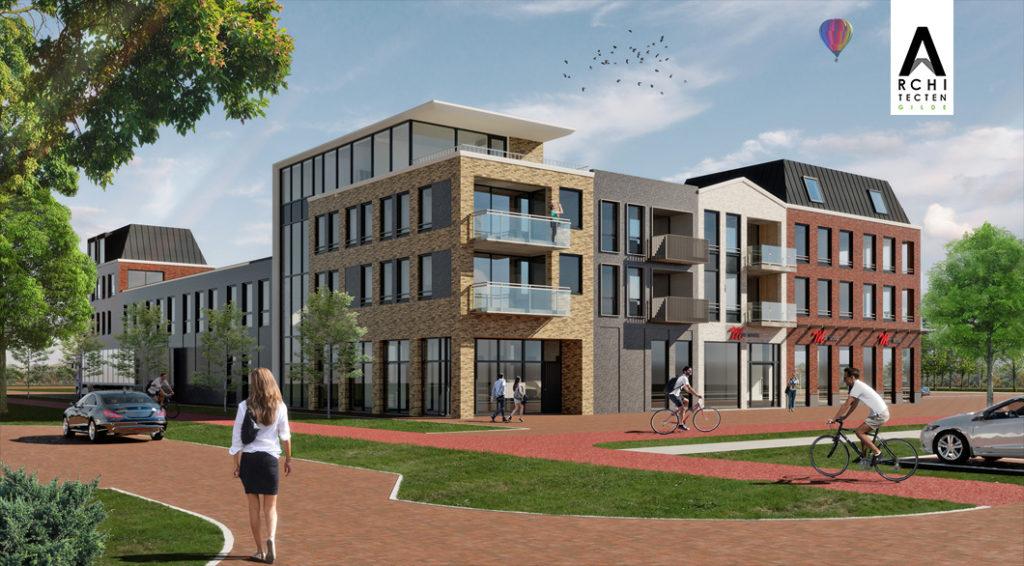 Entree appartementen centrumplan winkels